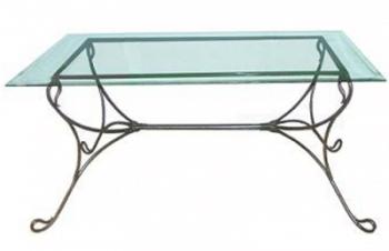 Table en verre et fer forgé