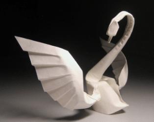 Serviette origami en cygne