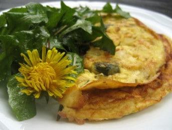 Omelette aux fleurs de pissenlit