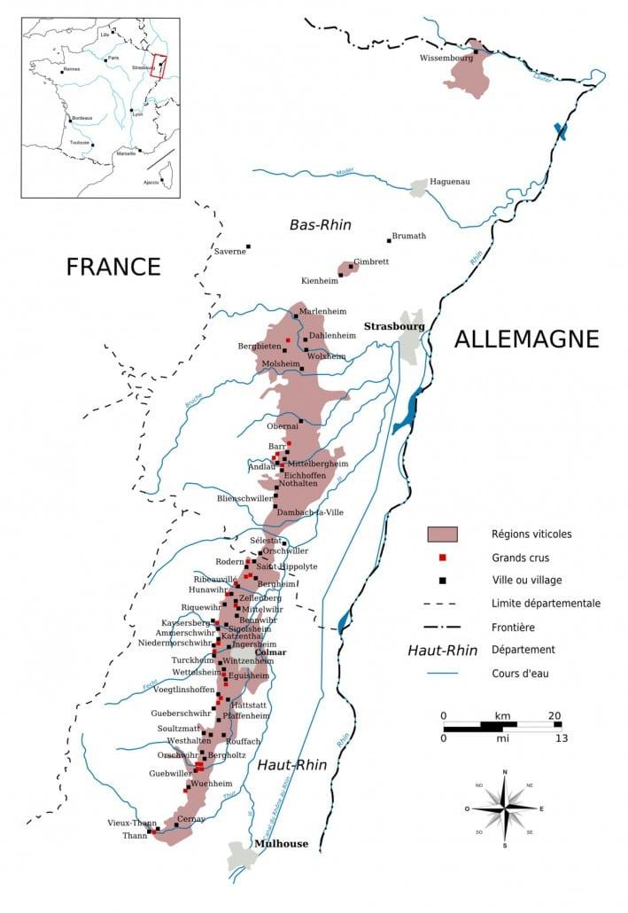 Carte vignoble alsacien