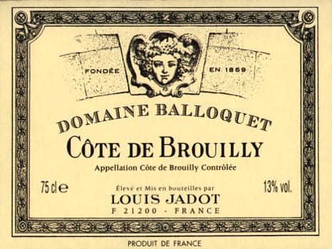 Étiquette Côte de Brouilly Domaine Balloquet