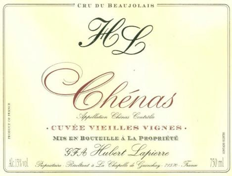 Étiquette de Chénas Hubert Lapierre