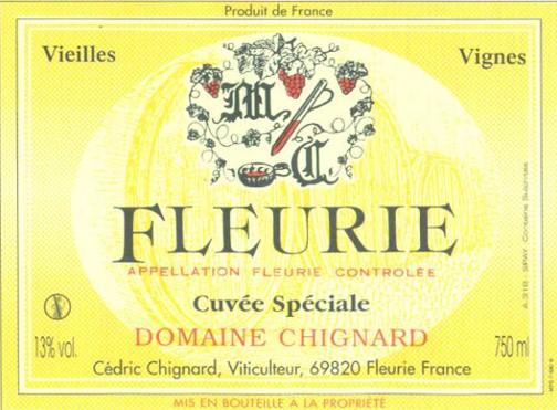 Étiquette de Fleurie, Domaine Chignar