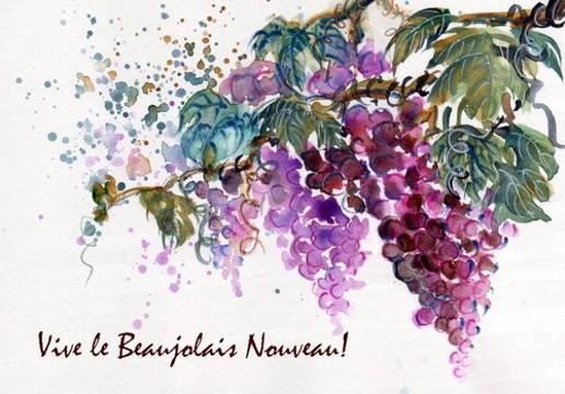 Pastel sur le Beaujolais nouveau