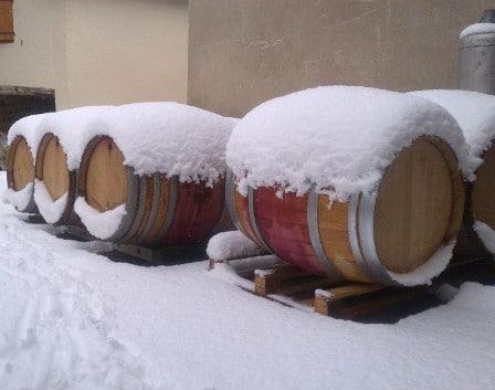 Soutirage de tonneaux de Beaujolais sous la neige