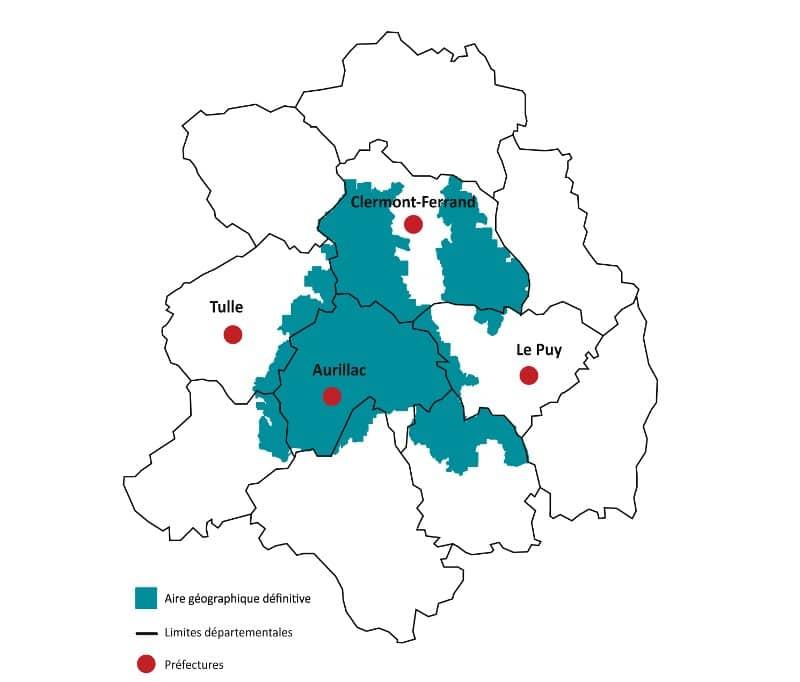 Zone de production du bleu d'Auvergne