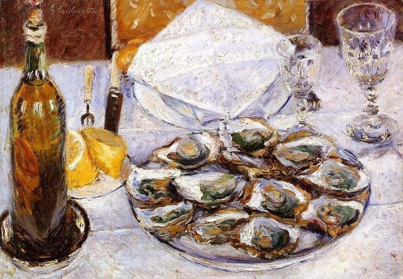 Nature morte aux huîtres de Gustave Caillebotte