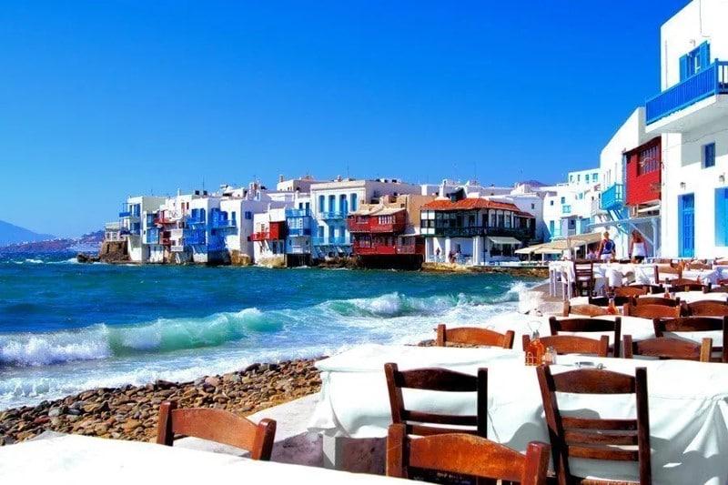 Restaurants le long du port de Mykonos