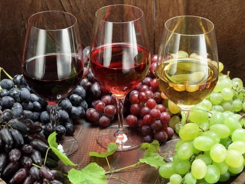 Vin rouge, vin rosé et vin blanc