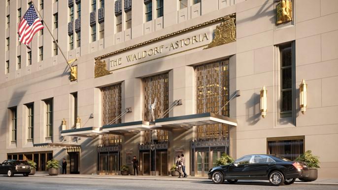 L'entrée de Park Avenue l'hôtel Waldorf-Astoria